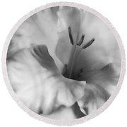 Soft Silver Gladiola Flower  Round Beach Towel