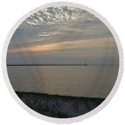 Soft Silver Sunset Round Beach Towel
