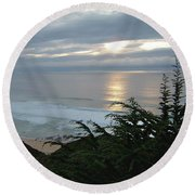 Soft Silvery Pacific Sunset Round Beach Towel