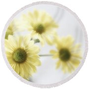 Soft Yellow Poms Round Beach Towel