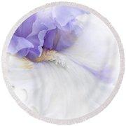 Softness Of A Lavender Iris Flower Round Beach Towel
