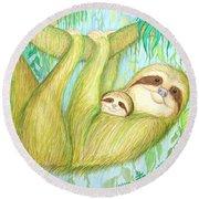 Soggy Mossy Sloth Round Beach Towel