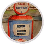 Sohio Gasoline Pump Round Beach Towel