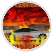 Solace Among Flames Round Beach Towel