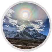 Solar Corona Above The Ama Dablam Round Beach Towel