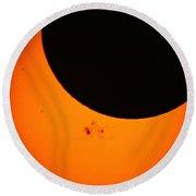 Solar Eclipse 2014 Round Beach Towel