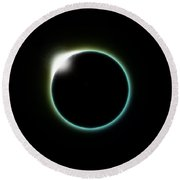 Solar Eclipse Moon Round Beach Towel