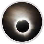 Solar Eclipse With Diamond Ring Effect Round Beach Towel