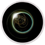 Solar Eclipse With Fractal Round Beach Towel