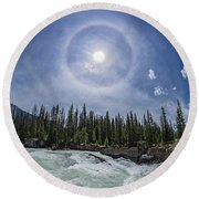 Solar Halo Over Natural Bridge, Yoho V1 Round Beach Towel