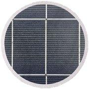 Solar Panel Collector Closeup View Round Beach Towel