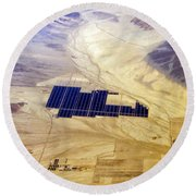 Solar Panels Aerial View Round Beach Towel