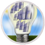 Solar Power Lightbulb Round Beach Towel