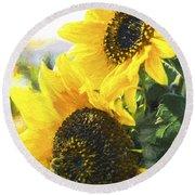 Solar Sunflowers Round Beach Towel