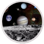 Solar System Montage Of Voyager Images Round Beach Towel by Movie Poster Prints