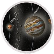 Solar System Orbits, Illustration Round Beach Towel