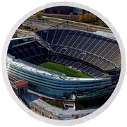 Soldier Field Chicago Sports 06 Round Beach Towel by Thomas Woolworth