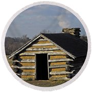 Soldiers' Barracks At Valley Forge Round Beach Towel