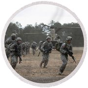 Soldiers Exit A Ch-47 Chinook Round Beach Towel