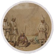 Soldiers Relaxing, 1844 Wc & Gouache On Paper Round Beach Towel