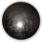 Solemn Winter's Moonlight Round Beach Towel