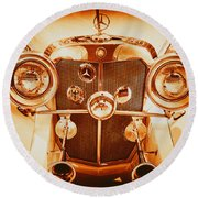 Solid Gold Mercedes Round Beach Towel