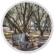 Solitaire Reading Round Beach Towel
