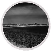 Solitary Lighthouse Round Beach Towel