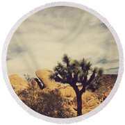 Solitary Man Round Beach Towel