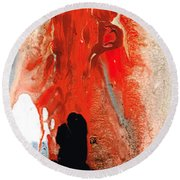 Solitary Man - Red And Black Abstract Art Round Beach Towel