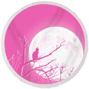 Solitary Pink Background Round Beach Towel