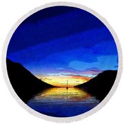 Solitary Sailboat Sunrise Round Beach Towel by Anne Mott