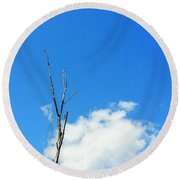 Solitude - Blue Sky Art By Sharon Cummings Round Beach Towel