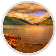 Solitude On Crescent Lake Round Beach Towel