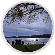 Somber View Round Beach Towel