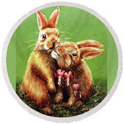 Some Bunny Loves You Round Beach Towel by Linda Simon