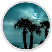 Some Kind Of Blue Round Beach Towel