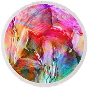 Somebody's Smiling - Abstract Art Round Beach Towel by Jaison Cianelli