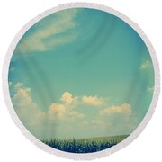 Somewhere Off In The Distance Round Beach Towel