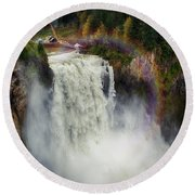 Somewhere Over The Falls Round Beach Towel