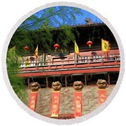 Song Dynasty Town In Dali 2 Round Beach Towel