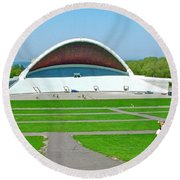 Song Festival Amphitheatre In Tallinn-estonia Round Beach Towel