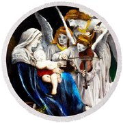 Song Of The Angels By Bouguereau Round Beach Towel