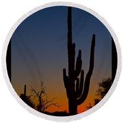 Sonoran Desert Sunrise Poster Print Round Beach Towel