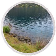 Soothing Lake Crescent Round Beach Towel