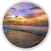 Soothing Sunrise Round Beach Towel by Betsy Knapp