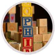 Sophia - Alphabet Blocks Round Beach Towel