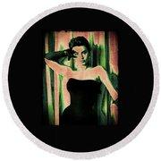 Sophia Loren - Green Pop Art Round Beach Towel