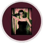 Sophia Loren - Pink Pop Art Round Beach Towel