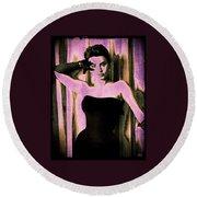 Sophia Loren - Purple Pop Art Round Beach Towel by Absinthe Art By Michelle LeAnn Scott